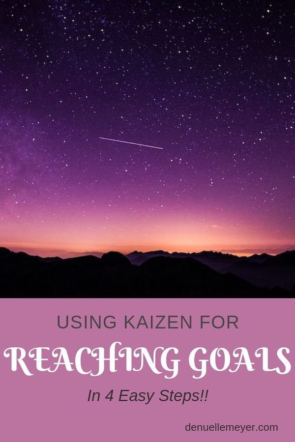Reaching goals using Kaizen in 4 easy steps. Don't give up on your goals, you can accomplish them! Click through to learn more :) Do Well, Be Well, Live Well, The Weekly Well- Weekly inspiration to live YOUR best life!