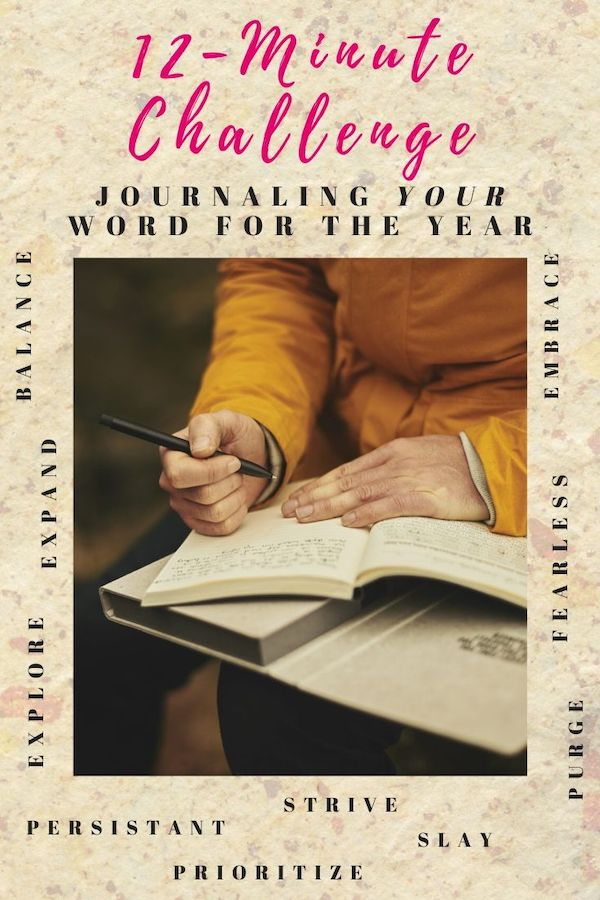 This Week's 12-minute challenge is: journaling about your word for the year. This word is your guiding light, north star, I'm gonna make 2020 the year of (your word), thank you very much, kind of word! Click through to learn more about journaling your word! You got this! Pin now, read later. #fitmind #stressfree #12-minutechallenge #journaling #wordoftheyear #newyearnewyou #resolution